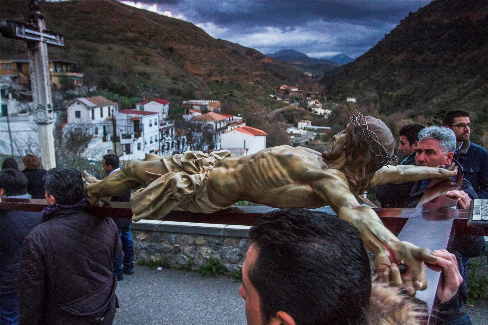 Cristo de los Gitanos on its Via Crucis in Granada.
